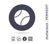 baseball ball sign icon. sport... | Shutterstock .eps vector #593945297