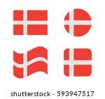 Set 4 Flags Of Denmark