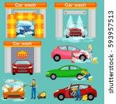 car wash services  auto...   Shutterstock . vector #593957513