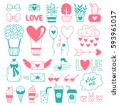 Love Stickers. Blue And Pink...
