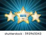 retro light sign. three gold... | Shutterstock .eps vector #593965043