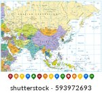 colored asia map and colorful... | Shutterstock .eps vector #593972693