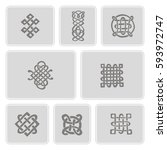 monochrome icons set with... | Shutterstock .eps vector #593972747