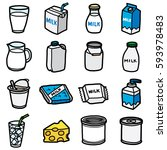 milk packaging objects  icons... | Shutterstock .eps vector #593978483