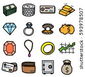 valuable objects  icons set  ... | Shutterstock .eps vector #593978507