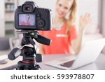 young vlogger girl recording... | Shutterstock . vector #593978807