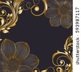 hand drawing  floral background.... | Shutterstock .eps vector #593987117