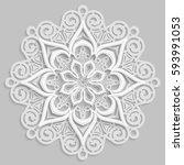 lace 3d mandala   round... | Shutterstock .eps vector #593991053