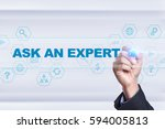 businessman drawing on virtual... | Shutterstock . vector #594005813