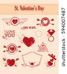 set of st.valentine s day... | Shutterstock .eps vector #594007487