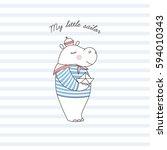 little hippo sailor ... | Shutterstock .eps vector #594010343