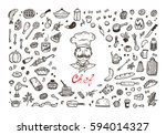cooking. vector set for menu... | Shutterstock .eps vector #594014327