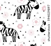 vector seamless cute zebra... | Shutterstock .eps vector #594029897