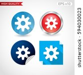 colored icon or button of gear... | Shutterstock .eps vector #594030023