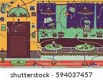 restaurant with robots | Shutterstock .eps vector #594037457