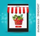 online food shopping ... | Shutterstock . vector #594045347