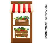 local vegetable stall. fresh... | Shutterstock . vector #594047003