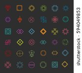 set of colored geometric... | Shutterstock .eps vector #594049853