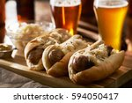 three german bratwursts and... | Shutterstock . vector #594050417