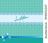 turquoise background with lace. ... | Shutterstock .eps vector #594052247
