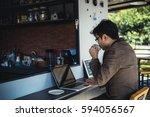 asian business young man drink... | Shutterstock . vector #594056567