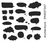 set of black speech bubbles and ... | Shutterstock .eps vector #594057347