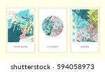 universal floral posters set.... | Shutterstock .eps vector #594058973