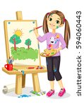 artist girl painting on canvas | Shutterstock .eps vector #594060443
