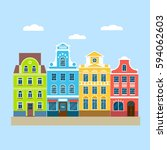 street landscape with colorful... | Shutterstock .eps vector #594062603