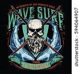 surf typography  t shirt... | Shutterstock .eps vector #594064907
