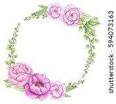 wreath with watercolor pink... | Shutterstock . vector #594073163