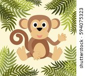 cartoon monkey among leaves | Shutterstock .eps vector #594075323