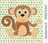 cartoon monkey on the... | Shutterstock .eps vector #594075347