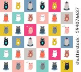 cat collection seamless pattern | Shutterstock .eps vector #594076637