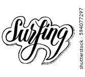 black vector lettering surfing... | Shutterstock .eps vector #594077297