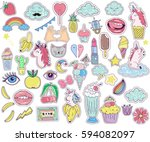 patches  badges stickers with... | Shutterstock .eps vector #594082097