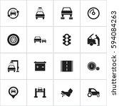set of 16 editable car icons.... | Shutterstock .eps vector #594084263