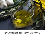 olive in glass bowl  garlic ... | Shutterstock . vector #594087947