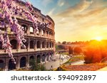 colosseum at spring in rome ...   Shutterstock . vector #594092897