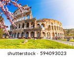 colosseum at spring in rome ... | Shutterstock . vector #594093023