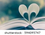 heart book page   vintage... | Shutterstock . vector #594095747