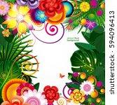 flowers spring design... | Shutterstock .eps vector #594096413