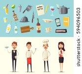 restaurant team. cartoon vector ... | Shutterstock .eps vector #594096503