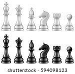 chess pieces set  two versions  ... | Shutterstock .eps vector #594098123