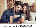 cheerful young couple on a... | Shutterstock . vector #594106607