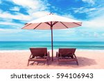 Beautiful Beach. Chairs On The...