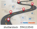 design template  road map... | Shutterstock .eps vector #594113543