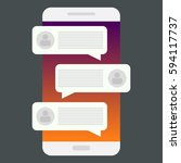 mobile phone chat message... | Shutterstock .eps vector #594117737