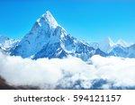 mountain peak everest. highest...   Shutterstock . vector #594121157