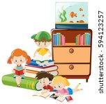 children reading books in the... | Shutterstock .eps vector #594123257